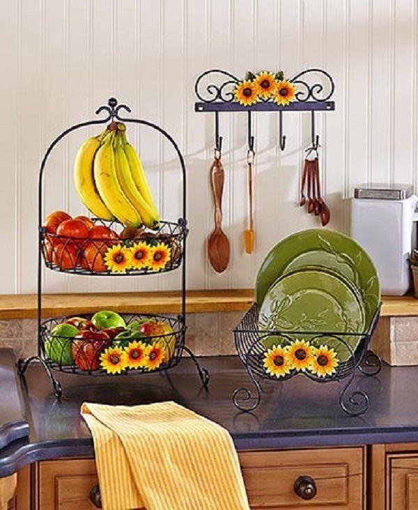 Wrought Iron Sunflower Dish Rack