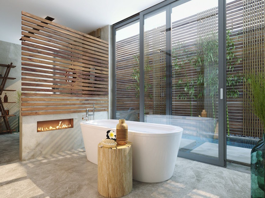 bathroom fireplaces