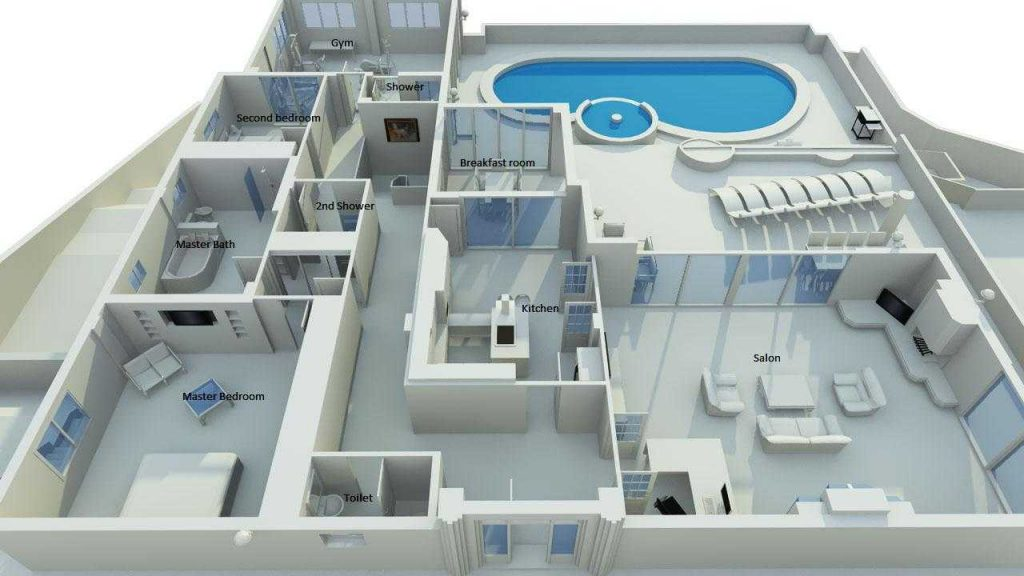 Fabulous Collection of 3D House Plans With Pool - Decor ...