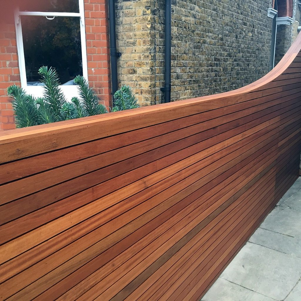 wood slats used as a garden fence