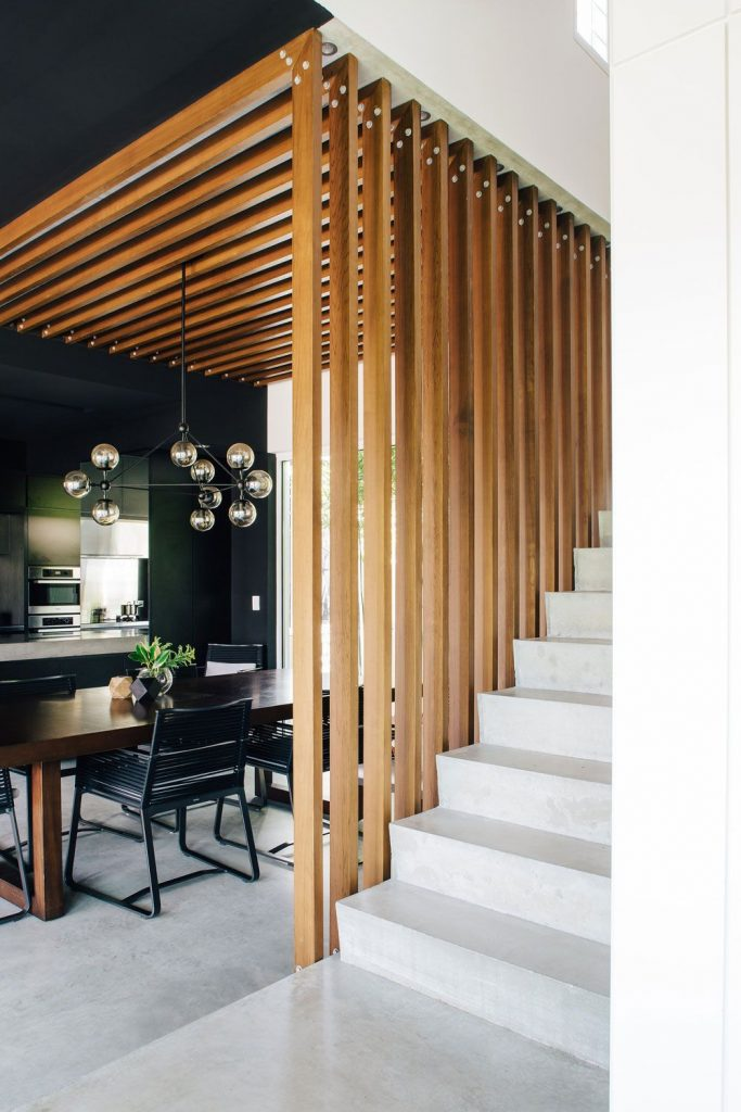 wood slat staircase fence