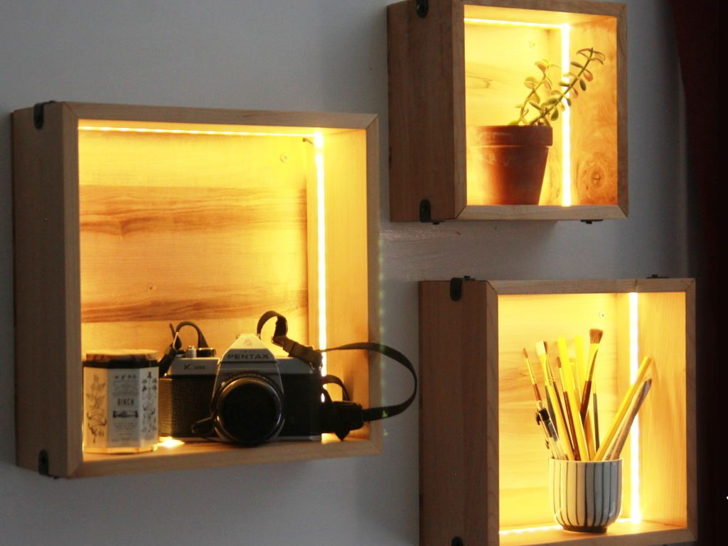 Cube Shelves LED lighting