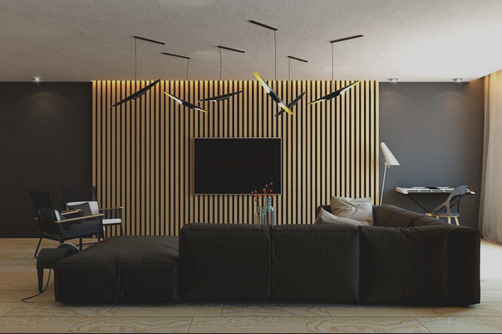 wood slats TV stand wall