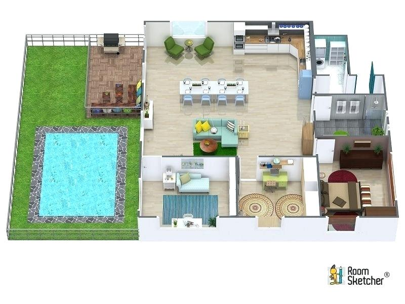Fabulous Collection Of 3d House Plans With Pool Decor Inspirator
