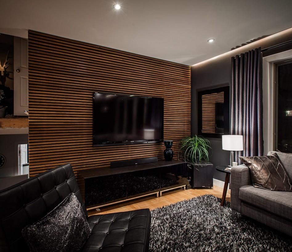 light brown wood slat home TV stand