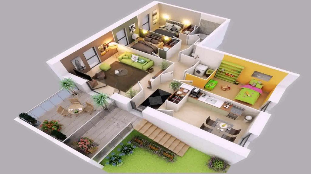 maxresdefault 1024x576 - View 2 Bedroom Simple Small House Design 3D Gif