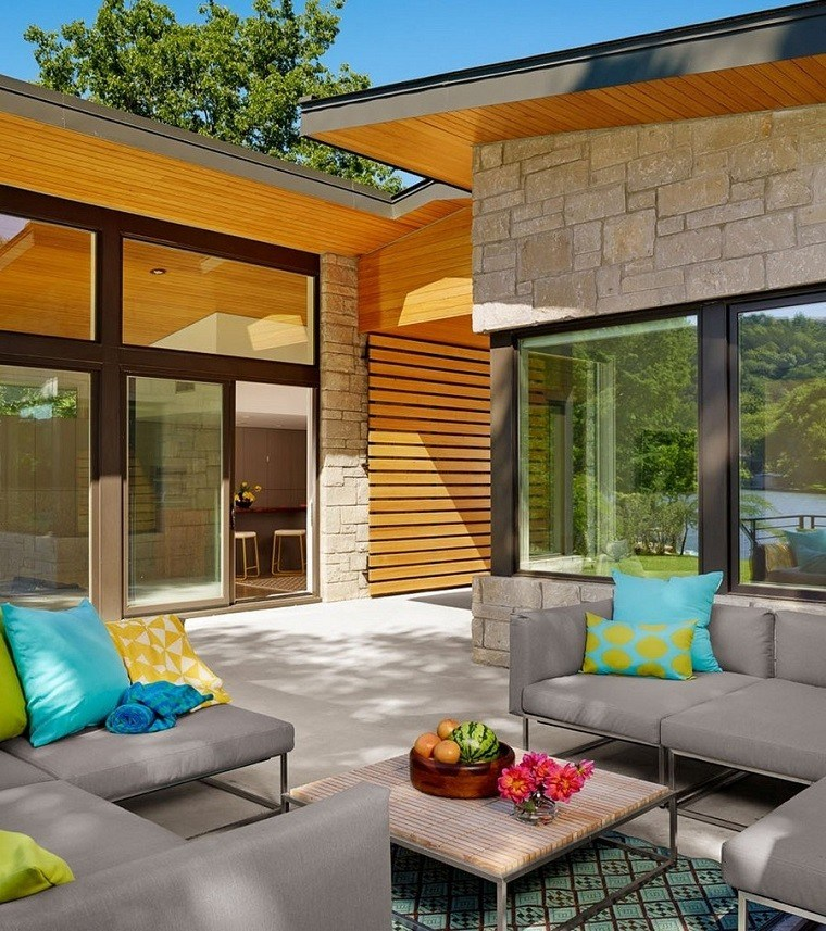 wood and concrete outdoor design