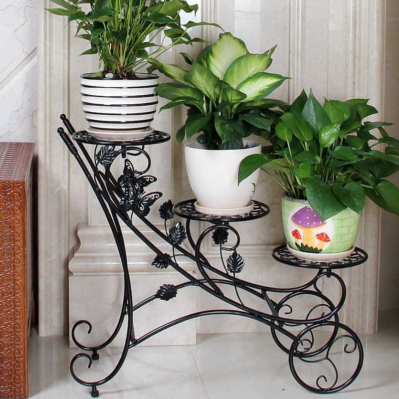 wrought iron flower pots stand