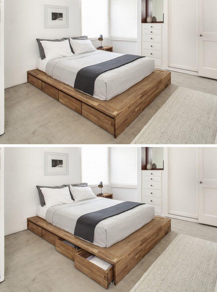 bed storage shelves