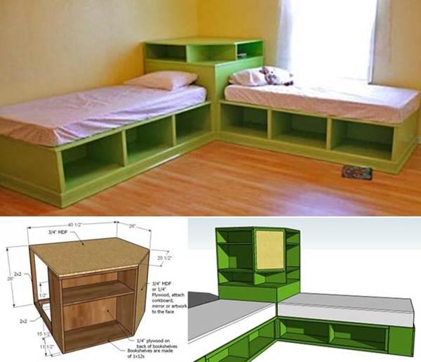 corner bed storage