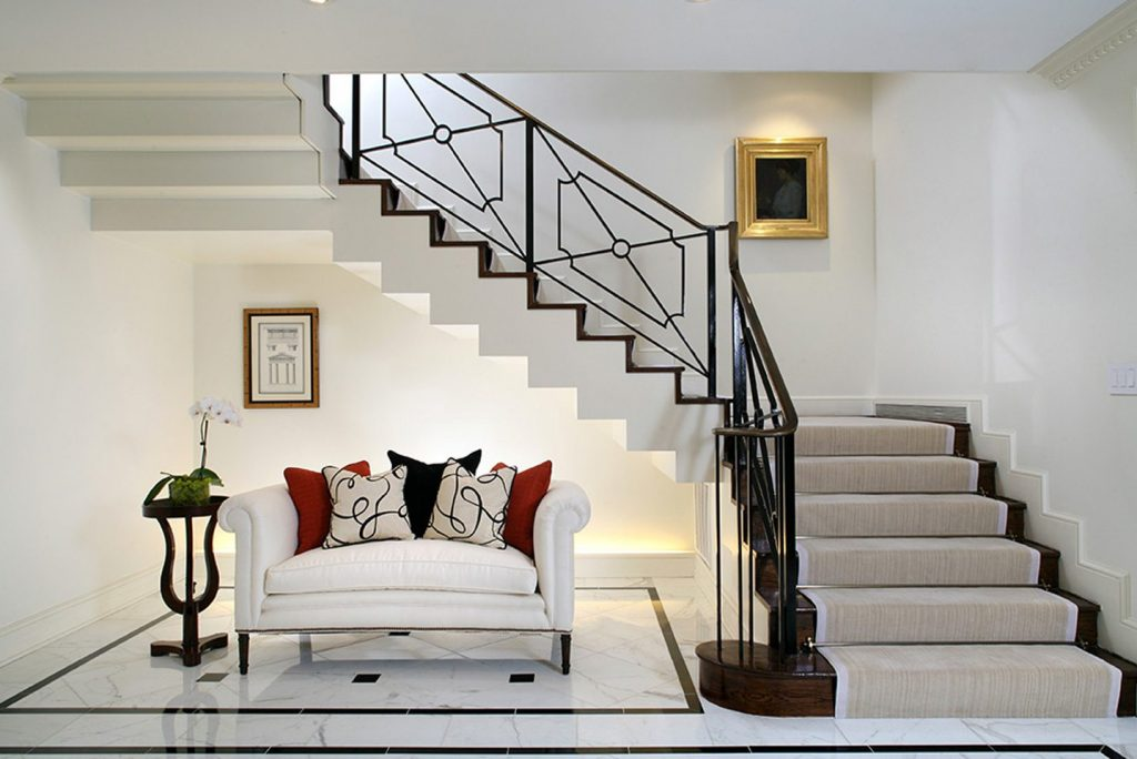 living room under stairs