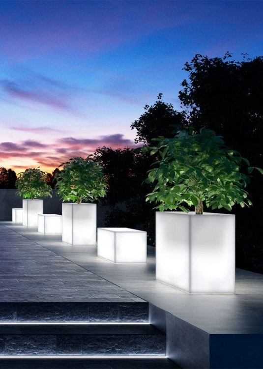 illuminated flower pots