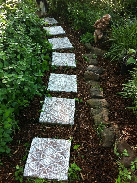 garden path of lace and tiles