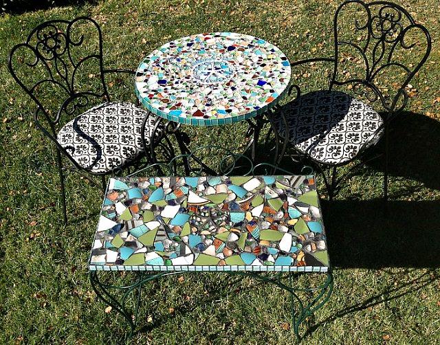 mosaic garden seating area