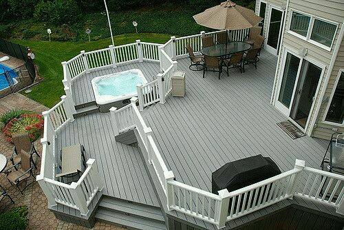 grey wooden deck