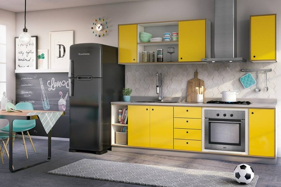yellow kitchen cabinet