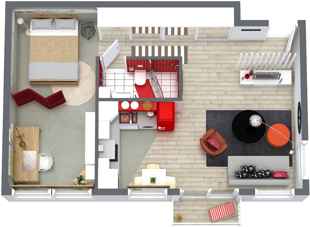 one bedroom house plan