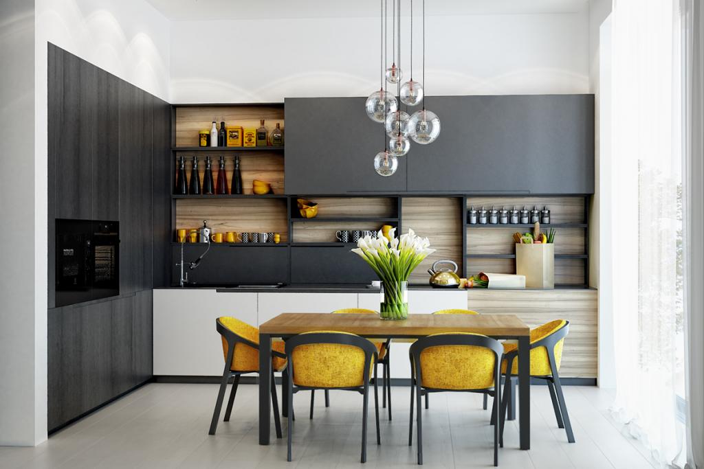 modern open kitchen shelving