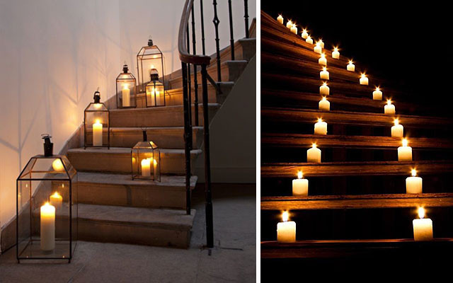 outdoor stairs enlighted with candles