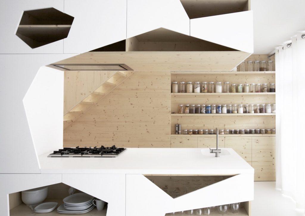 geometric kitchen cabinet