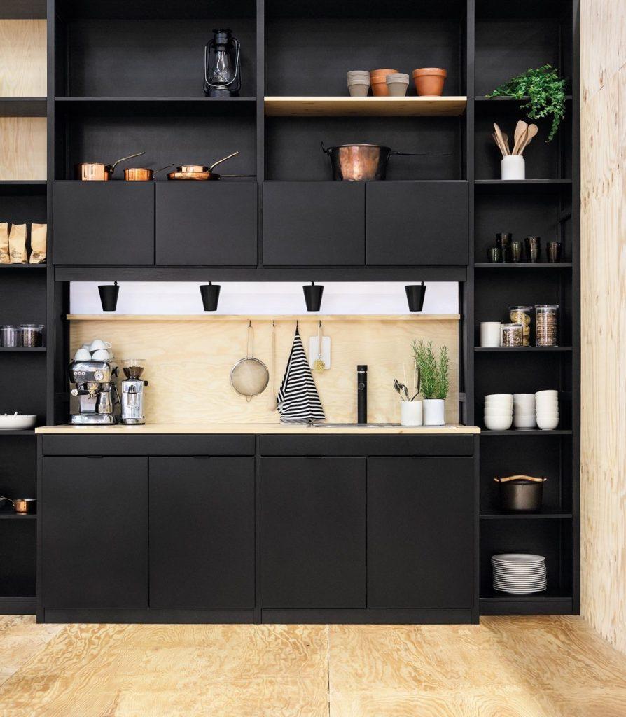 open shelving kitchen place