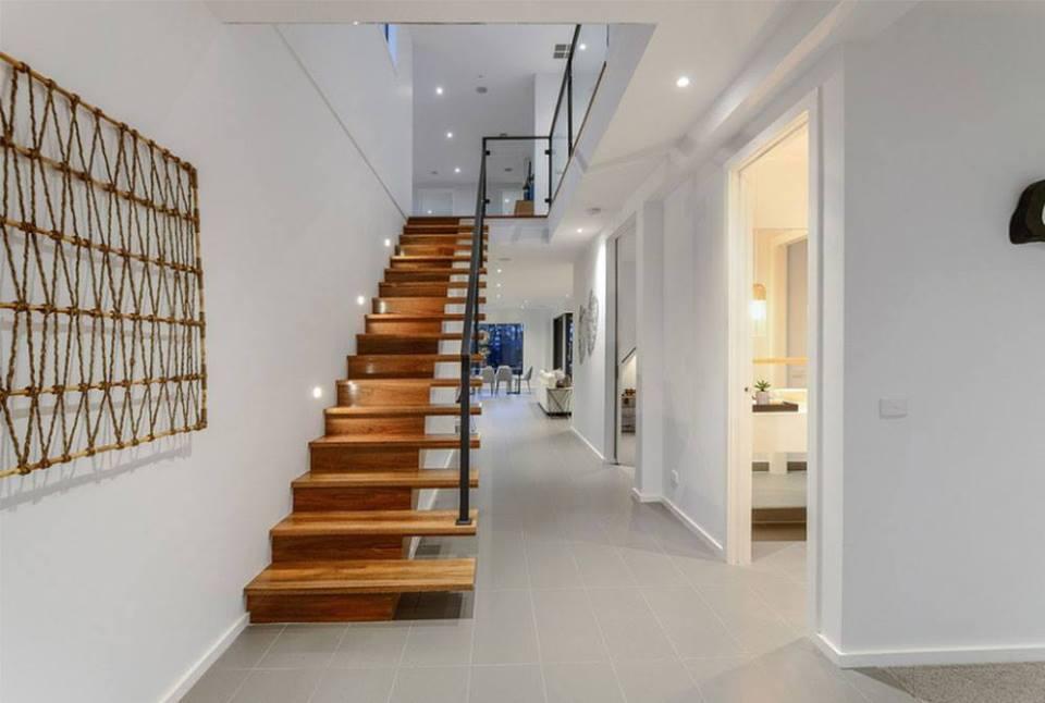 indoor wooden stairs