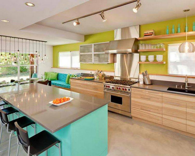 blue and yellow kitchen design combiantion
