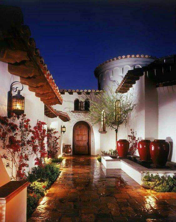 special courtyard design, rustic