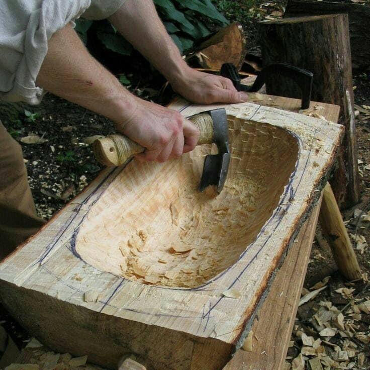 diy wooden sink in bath