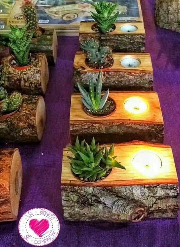 wood candles