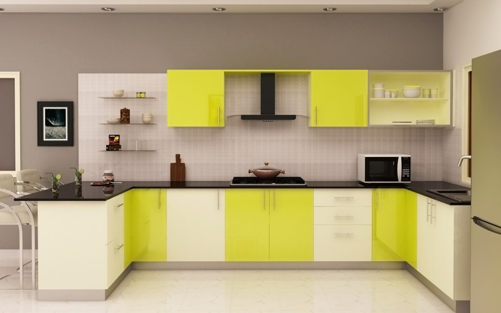 white and yellow kitchen cabinet