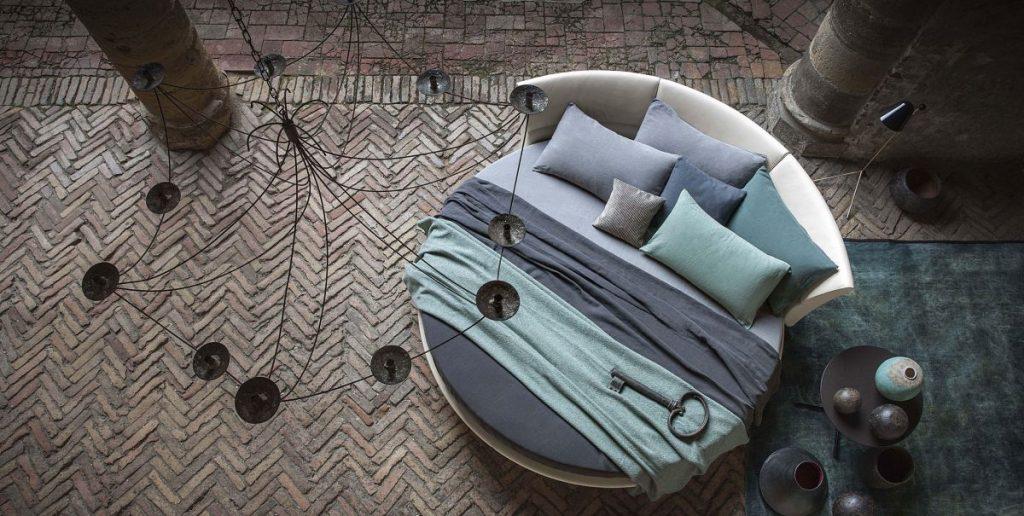 round bed in bedroom