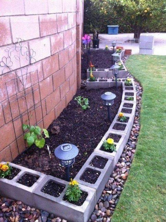 cement block flower pots