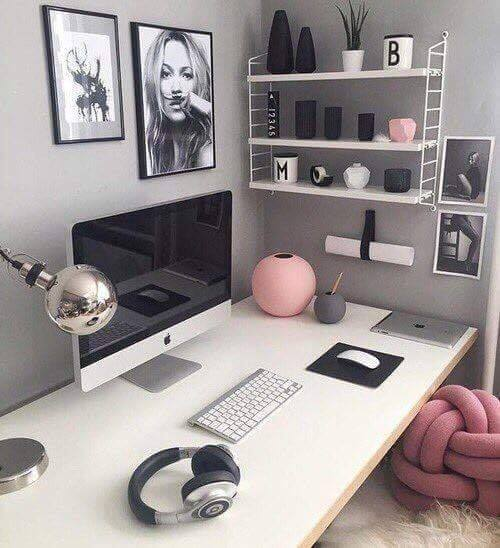 office in pink and grey