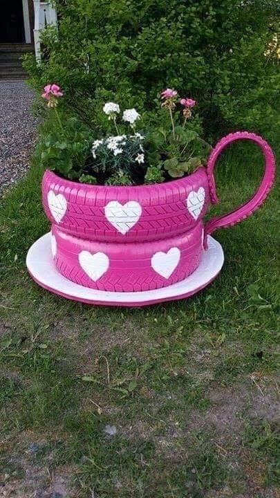 make a tea cup bu sing tires