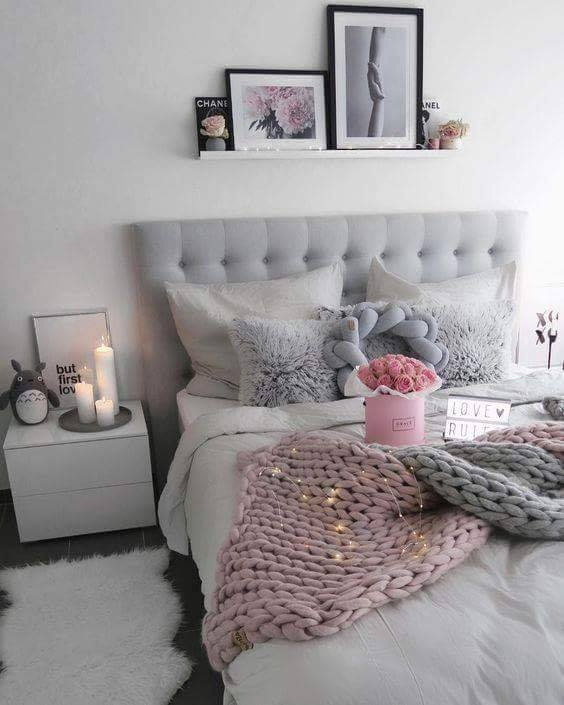 pink and grey bedroom design