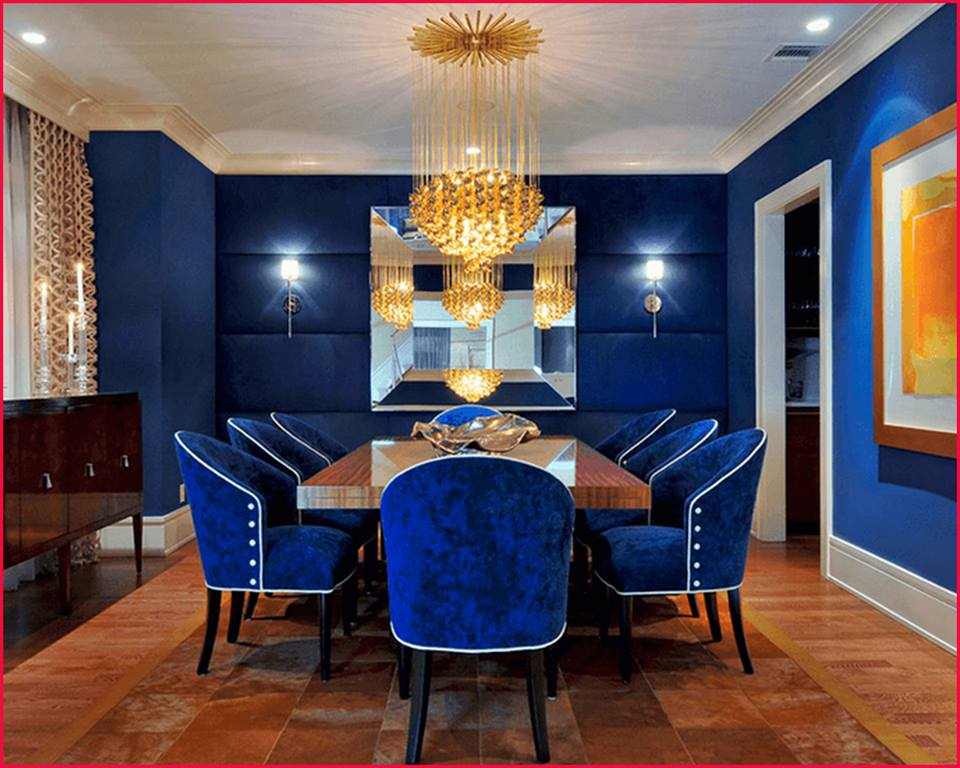 blue and gold interiors