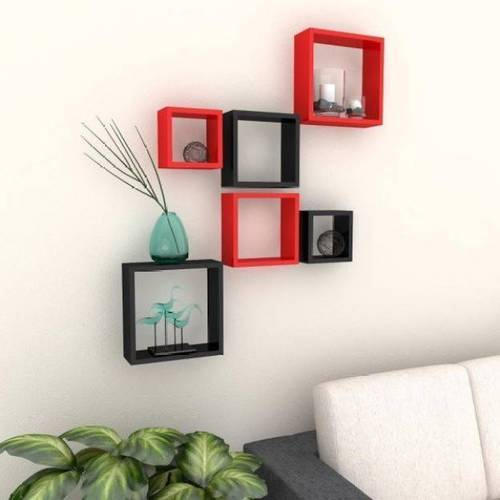 black and red shelves