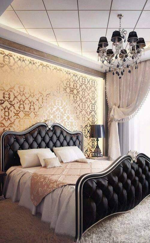 rose gold and black bedroom