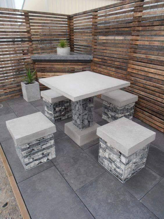gabions seating area