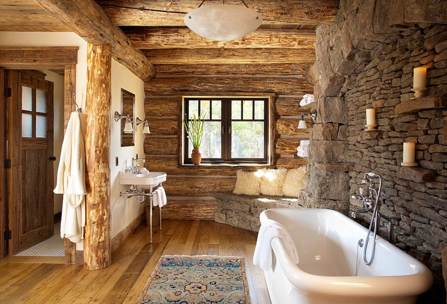 bathrooms stone walls