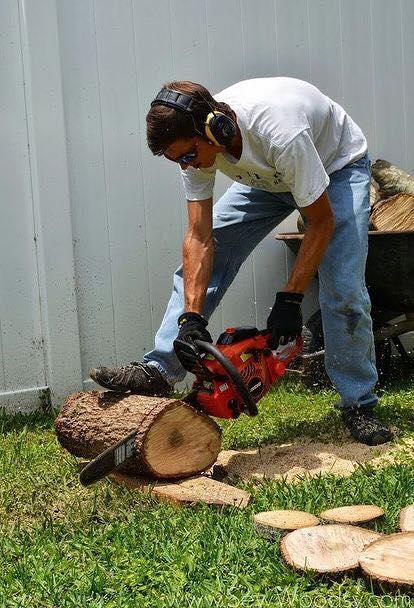 wood slice pathway