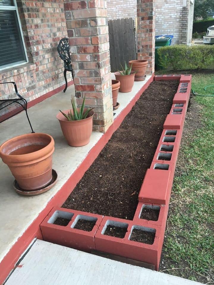 cinder block garden pots