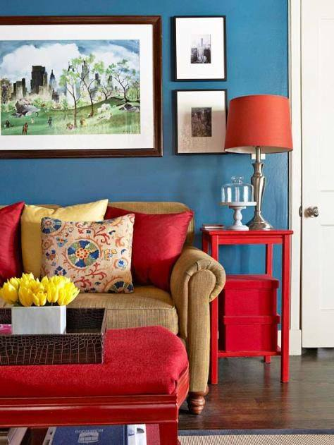 red and blue interior