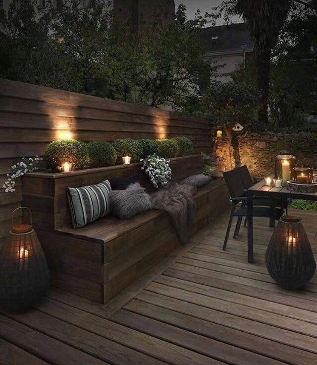 built-in bench planters