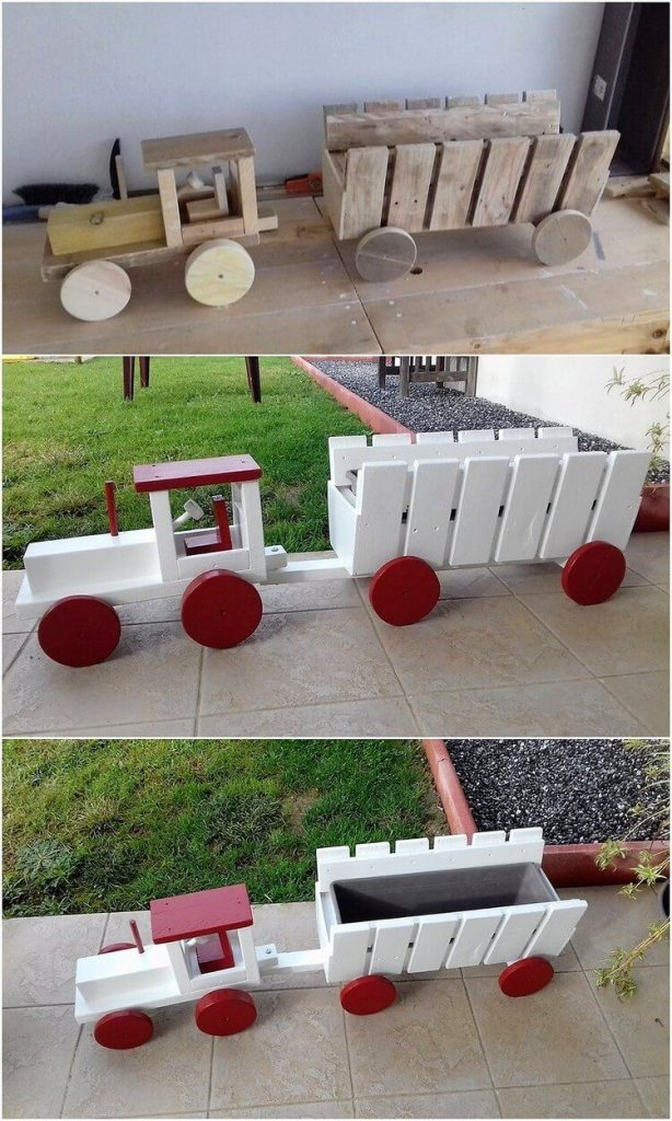 train by wood pallets