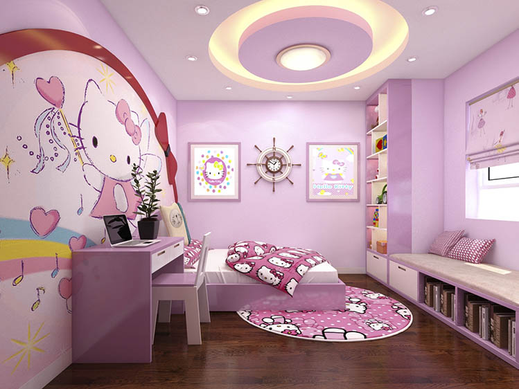 hello kitty themed girls room design