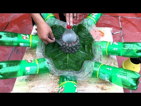 making pots with cement and plastic bottles