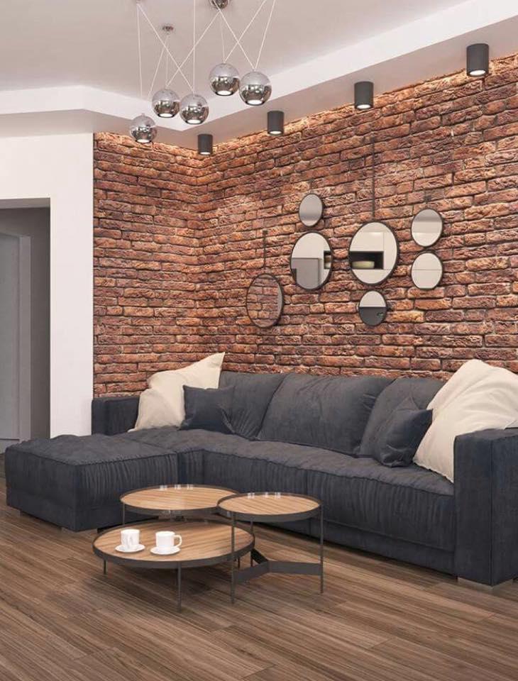 bricks in living room
