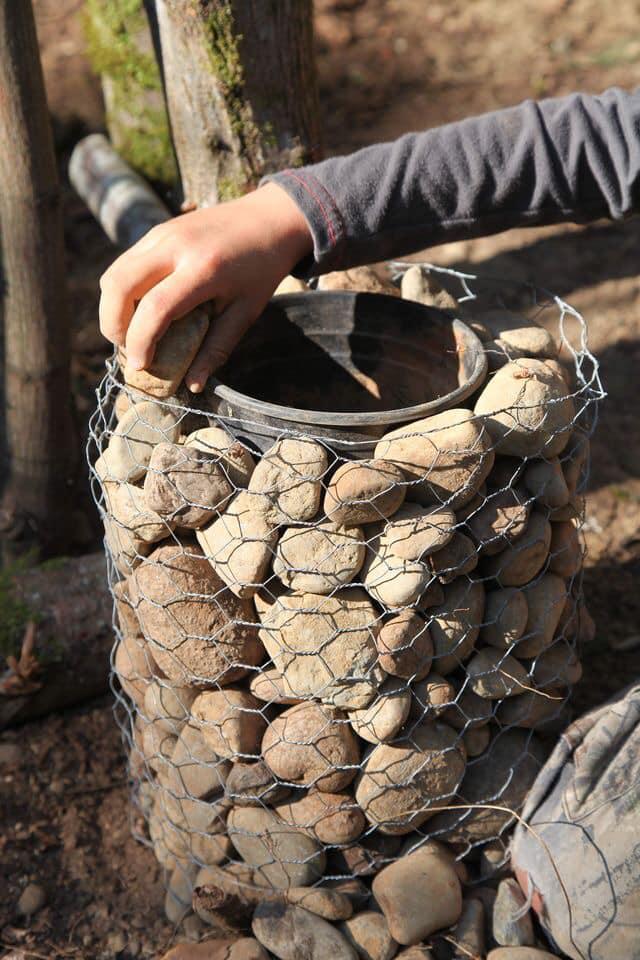 rocks flower pot